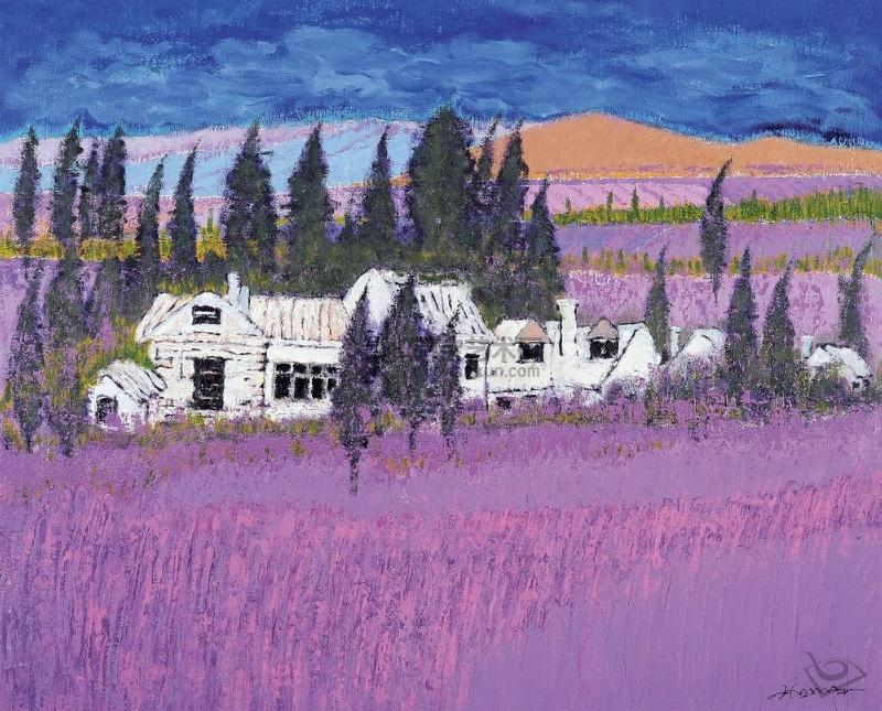 紫色调油画风景